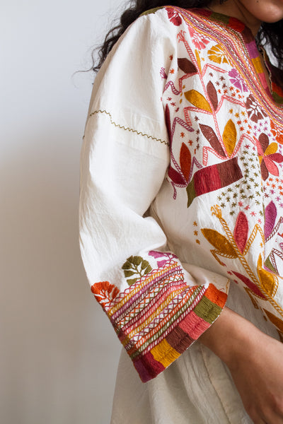 1980s Guatemalan Embroidered Terracotta Tunic