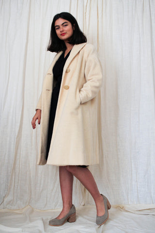 1960s Custard Wool Dolman Coat