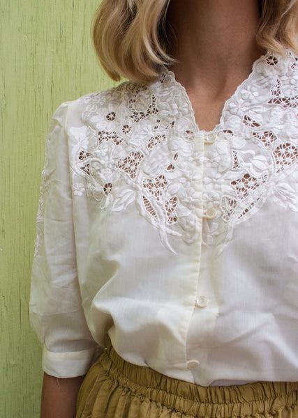 Ivory Lace Applique Blouse