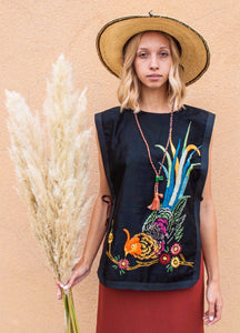 Bird Embroidered Tunic Vest