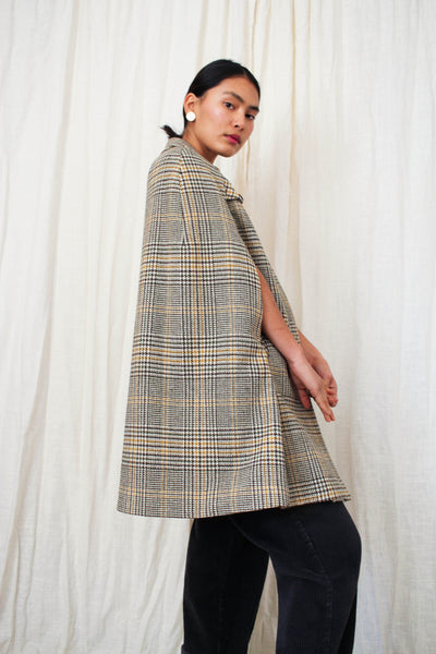 1960s Tweed Glen Plaid Cape