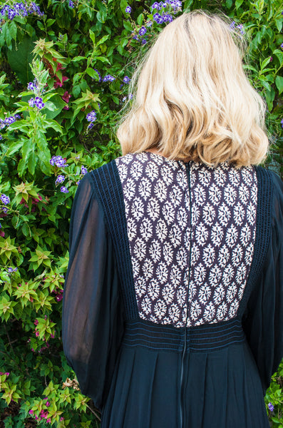 Block Print Sheer Black Dress