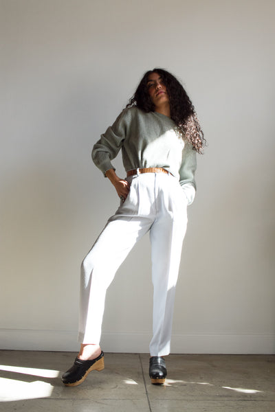 1980s Light Blue Ribbed High waist Trousers