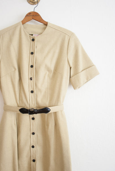 Asparagus Linen Shirt Dress