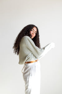1970s Light Blue Cashmere Ribbed Pullover