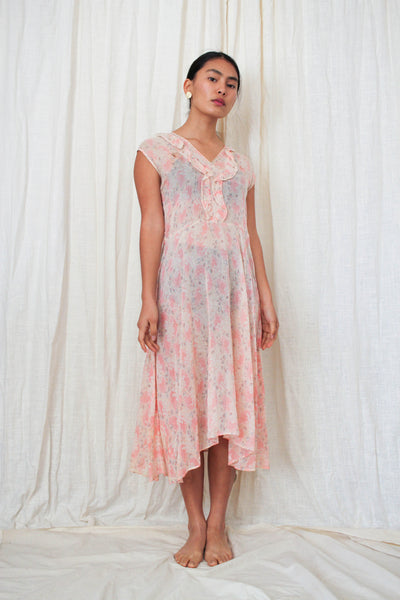 1930s Gauzy Pink Floral Day Dress