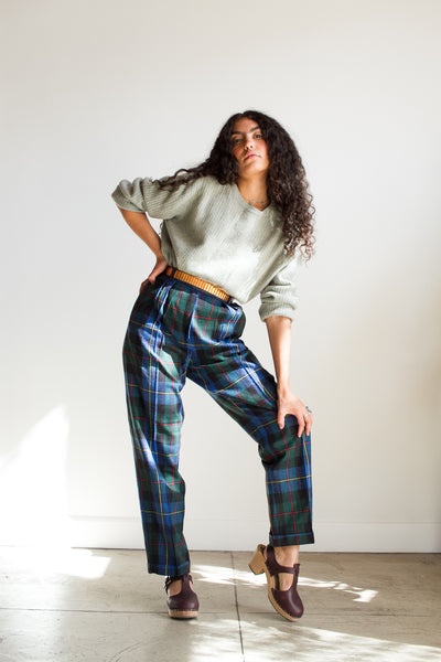 1970s Blue Collegiate Plaid Wool Trousers