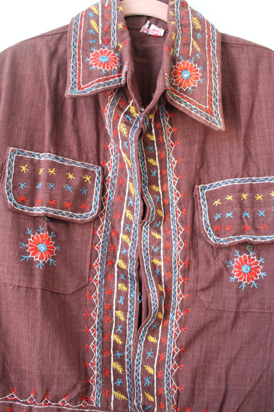 1970s Deadstock Indian Cotton Embroidered Jacket