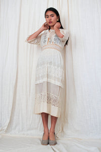 Edwardian Ecru Lace Embroidered Tea Dress