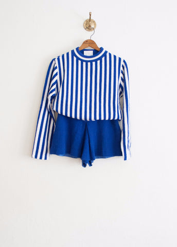 Royal Blue Striped Terry Two Piece