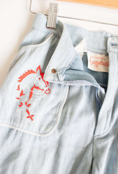 Chambray Horse Stitched Jeans