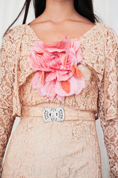 1930s Art Deco Blush Lace Gown Set