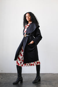 1980s Black Quilted Victor Costa Coat