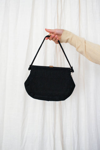 1940s Ribbon Knit Black Handbag