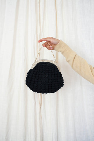 1930s Black Berry Knit Small Handbag