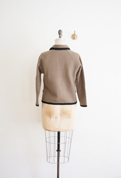 Taupe Knitted Trim Cardigan