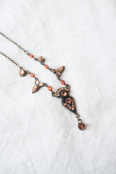 1970s Copper Toned Gem Necklace