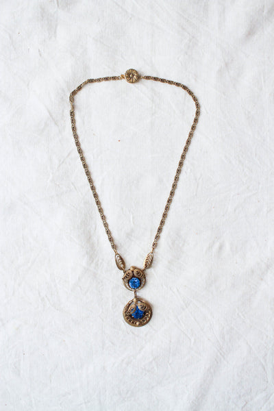 1920s Edwardian Blue Stone Necklace