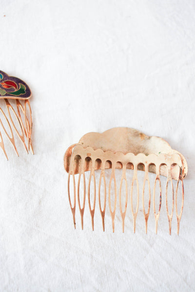 1970s Gold Plated Cloisonne Matching Hair Combs