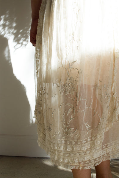1920s Lace Tiered Dress