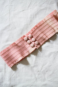 1920s Blush Pink Smocking Belt