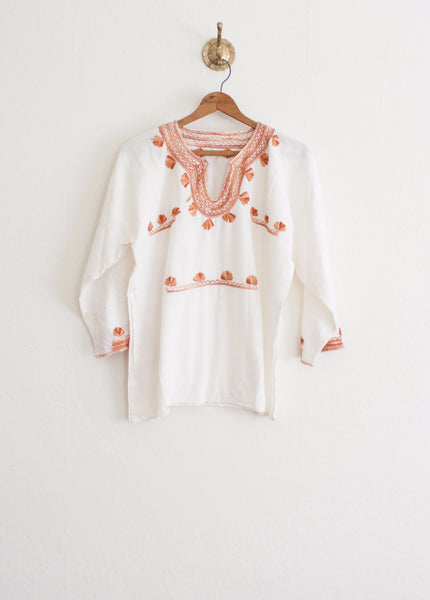 Terracotta Embroidered Mexican Tunic