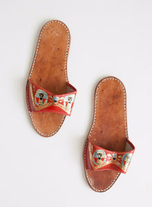 Eqyptian Motif Leather Sandal | 7.5