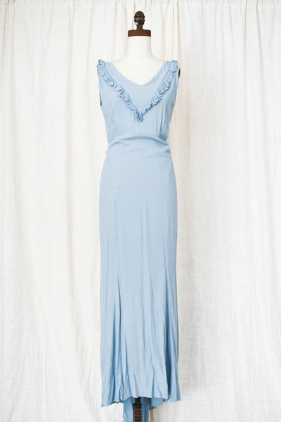 1930s Cornflower Blue Crepe Dress