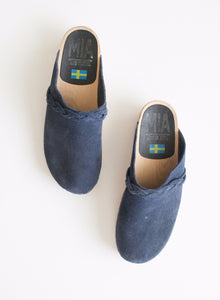 Navy Blue Suede Wooden Clogs | 8