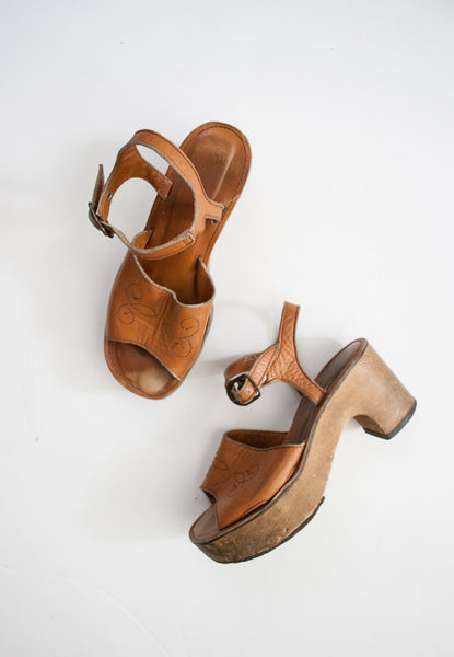 Cognac Leather Strap Chunky Platforms | 7