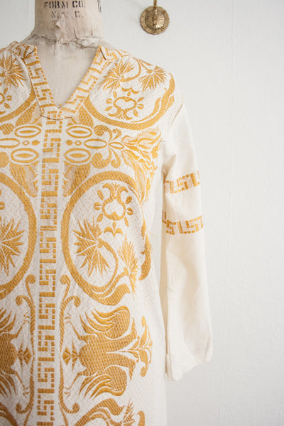 Goldenrod Embroidered Kaftan Dress