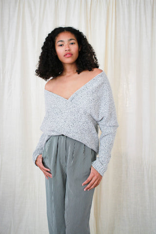 1990s Heather Grey Speckled Cotton Slouch Pullover