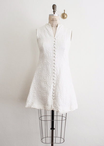 White Brocade Tile Dress
