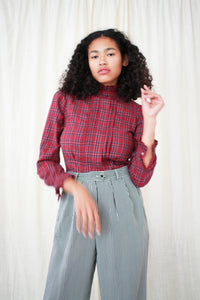 1990s Wine Plaid Fleece Cotton Blouse