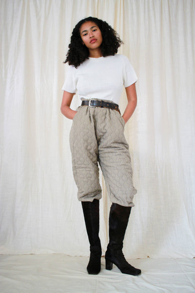 1980s Houndstooth Quilted Puffy Pants