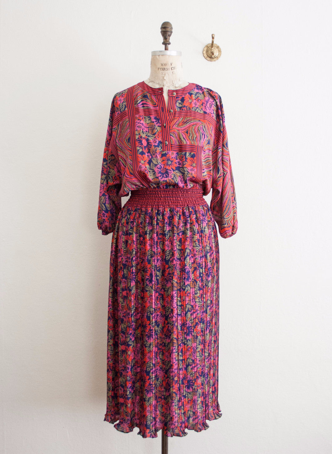 Diane Freis Magenta Mixed Print Dress