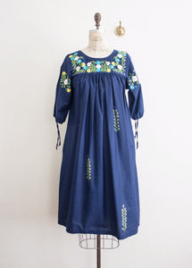 Sapphire Blue Embroidered Oaxacan Dress