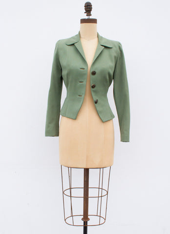 1940s Mint Gabardine Wool Jacket