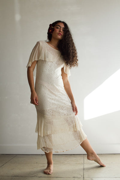 1920s Chiffon Motif Lace Dress
