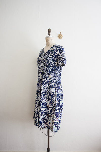 Indigo Batik Print Shirt Dress