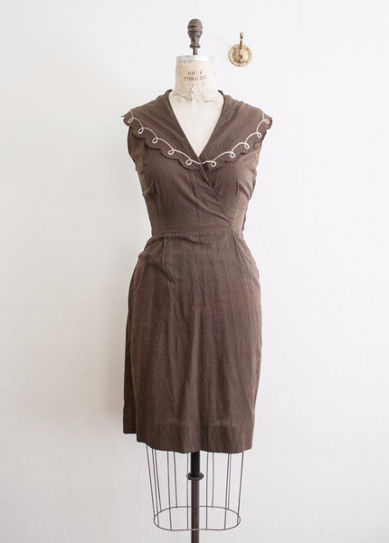 Sepia Scalloped Collared Dress