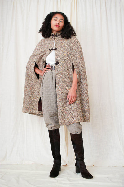 1960s Speckled Brown Tweed Long Cape