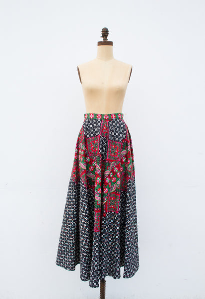 1950s Mixed Print Maxi Circle Skirt