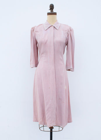 1930s Dusty Pink Button Collar Dress