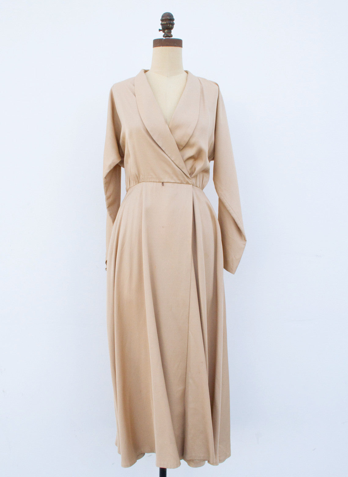 1980s Golden Beige Rayon Dress Jacket