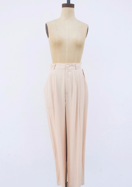 1980s Rayon Nude Peach Trousers