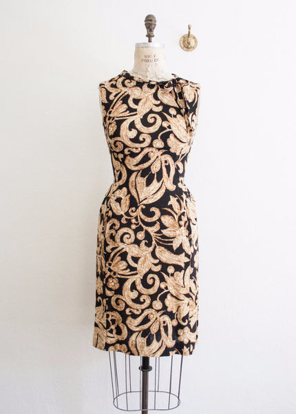 Black Botanical Motif Wiggle Dress