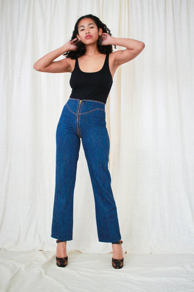 1980s Rare Rag City Blues Zip Around Rainbow Jeans
