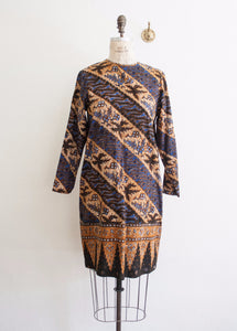 Midnight Blue Ethnic Motif Shift Dress