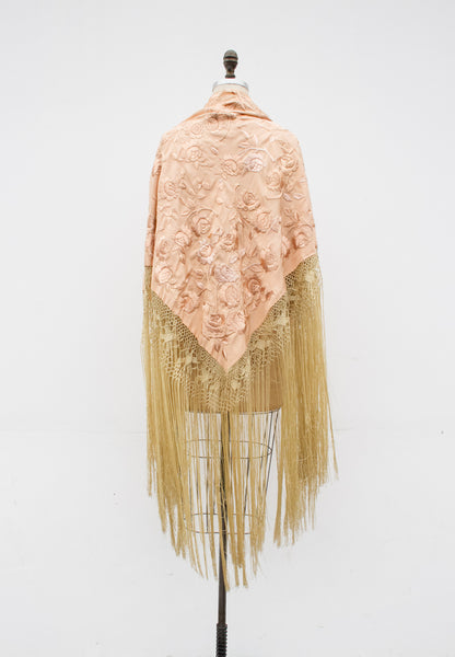 1920s Silk Hand-Embroidered Piano Shawl